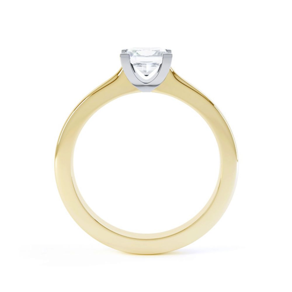 Modern 4 Claw Princess Solitaire Diamond Ring Side View In Yellow Gold