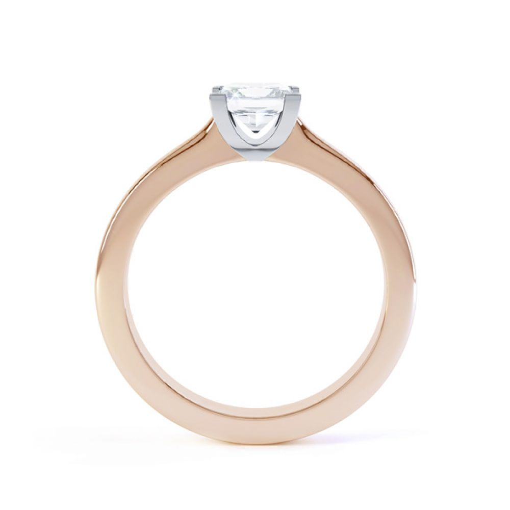 Modern 4 Claw Princess Solitaire Diamond Ring Side View In Rose Gold