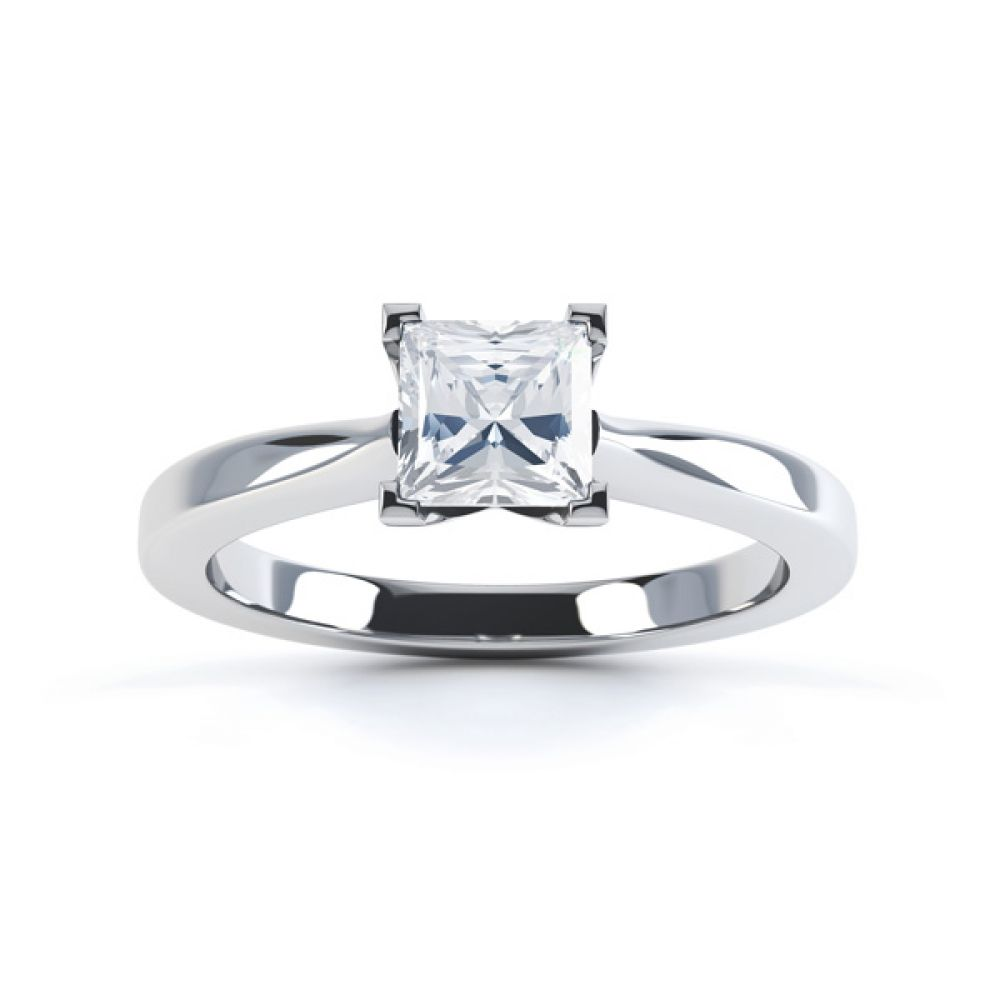 Modern 4 Claw Princess Solitaire Diamond Ring Top View In White Gold