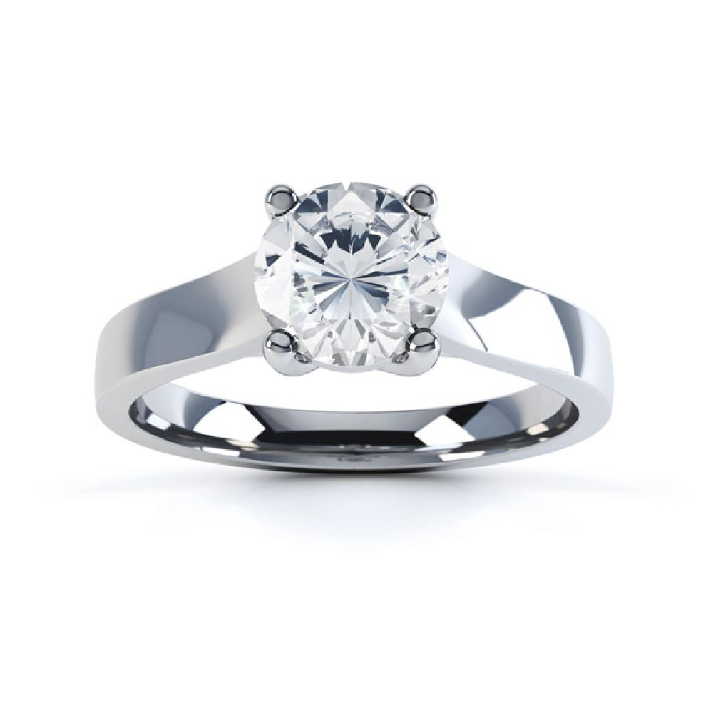 Elegant Round Solitaire with Cross-Over 4 Claw Setting Top White