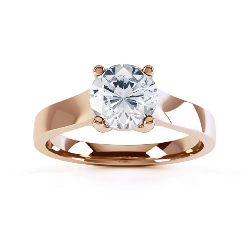 Elegant Round Solitaire with Cross-Over 4 Claw Setting top Rose