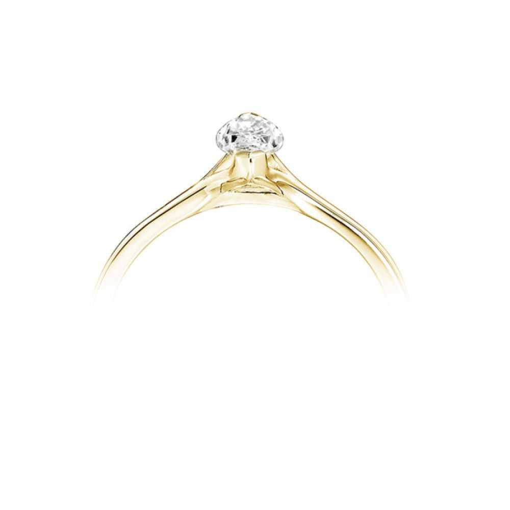 Split Shoulder 2 Claw Marquise Diamond Ring Yellow Gold Side