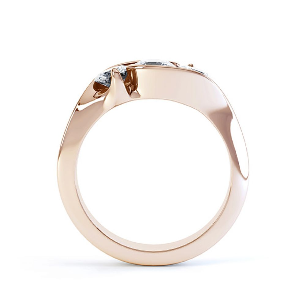Isabella R3D009 three stone diamond engagement ring rose gold side view