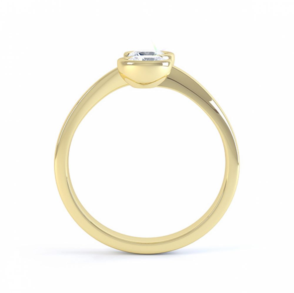 2 stone Couplet design diamond engagement ring in yellow gold side view