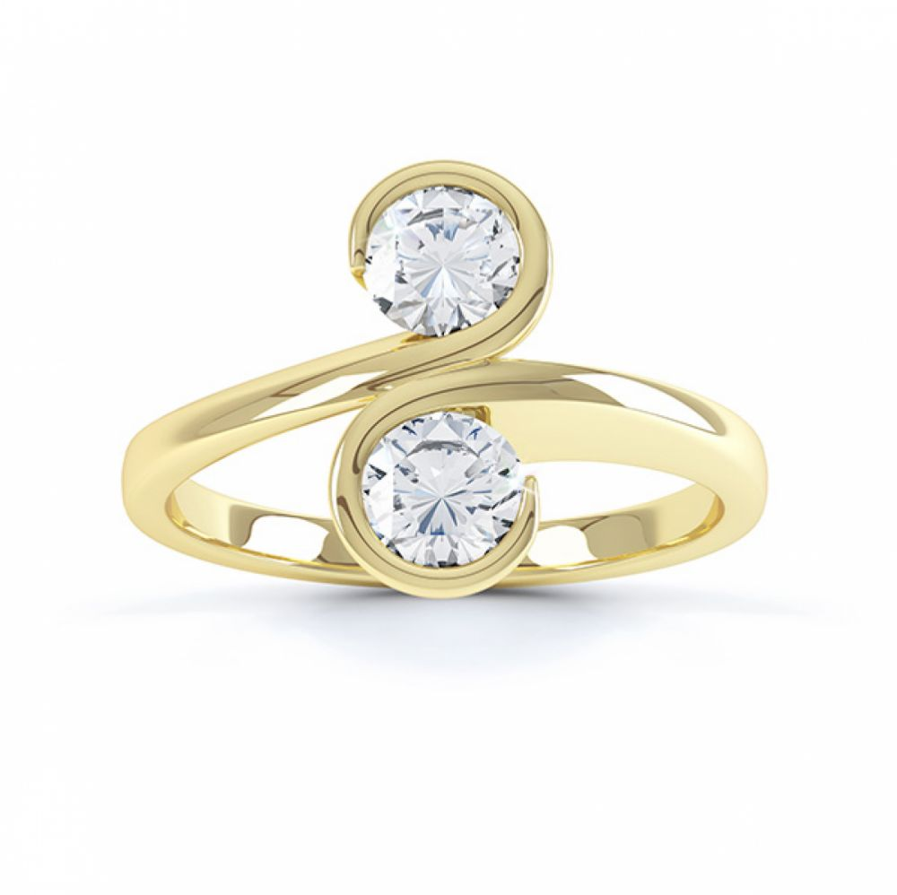 2 stone Couplet design diamond engagement ring top view yellow gold
