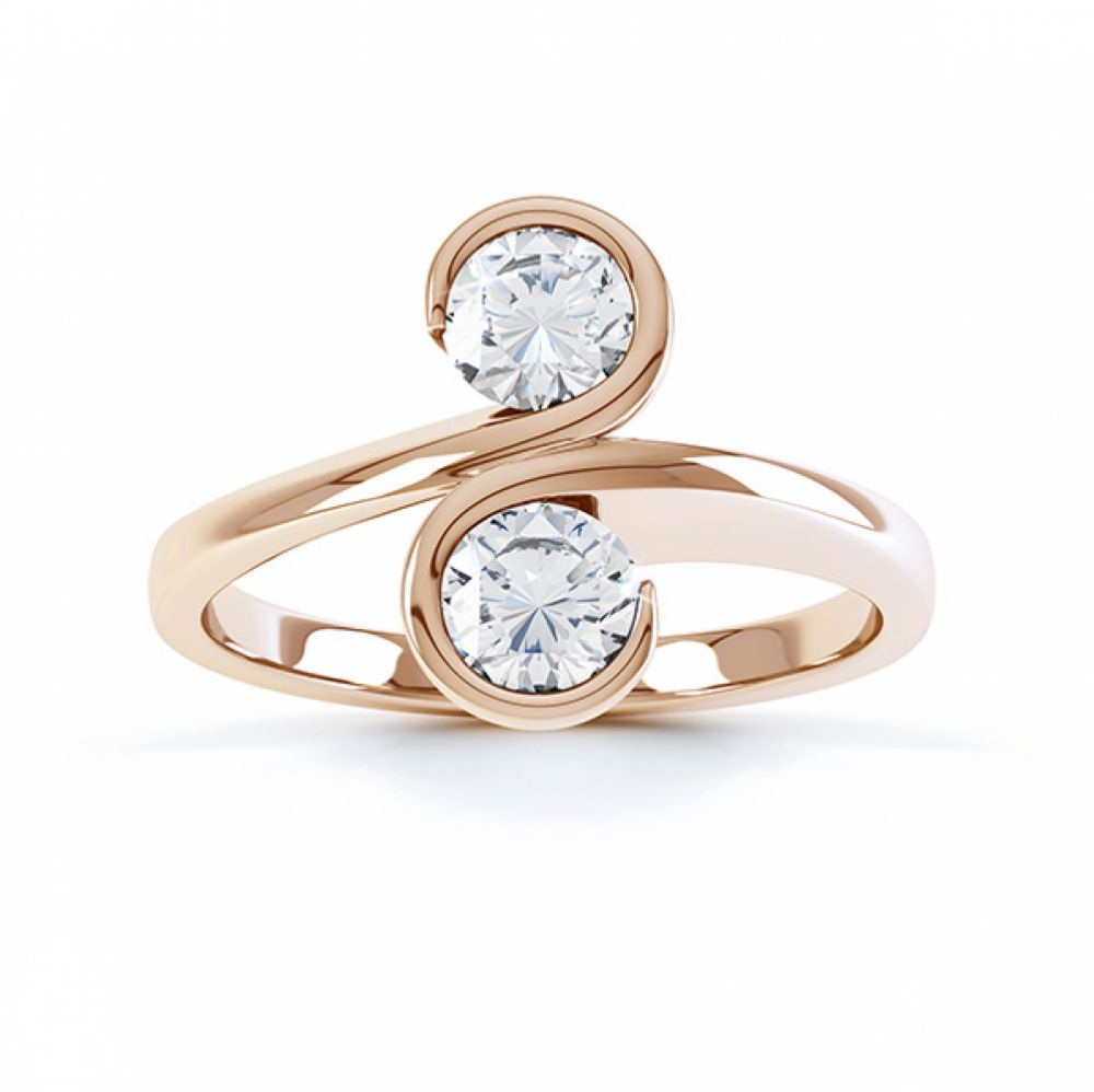 2 stone Couplet design diamond engagement ring top view rose gold