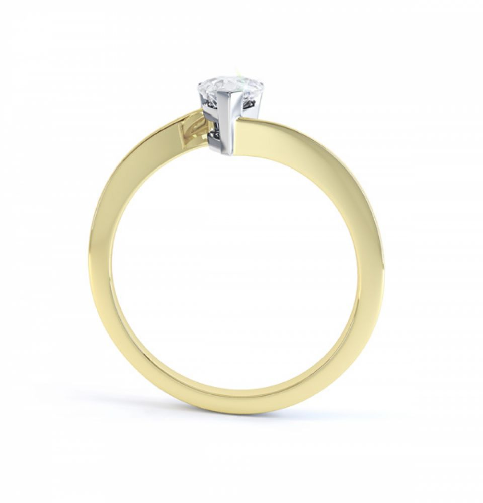 R1D068 Side, Pear shaped Twist Engagement Ring, Yellow Gold