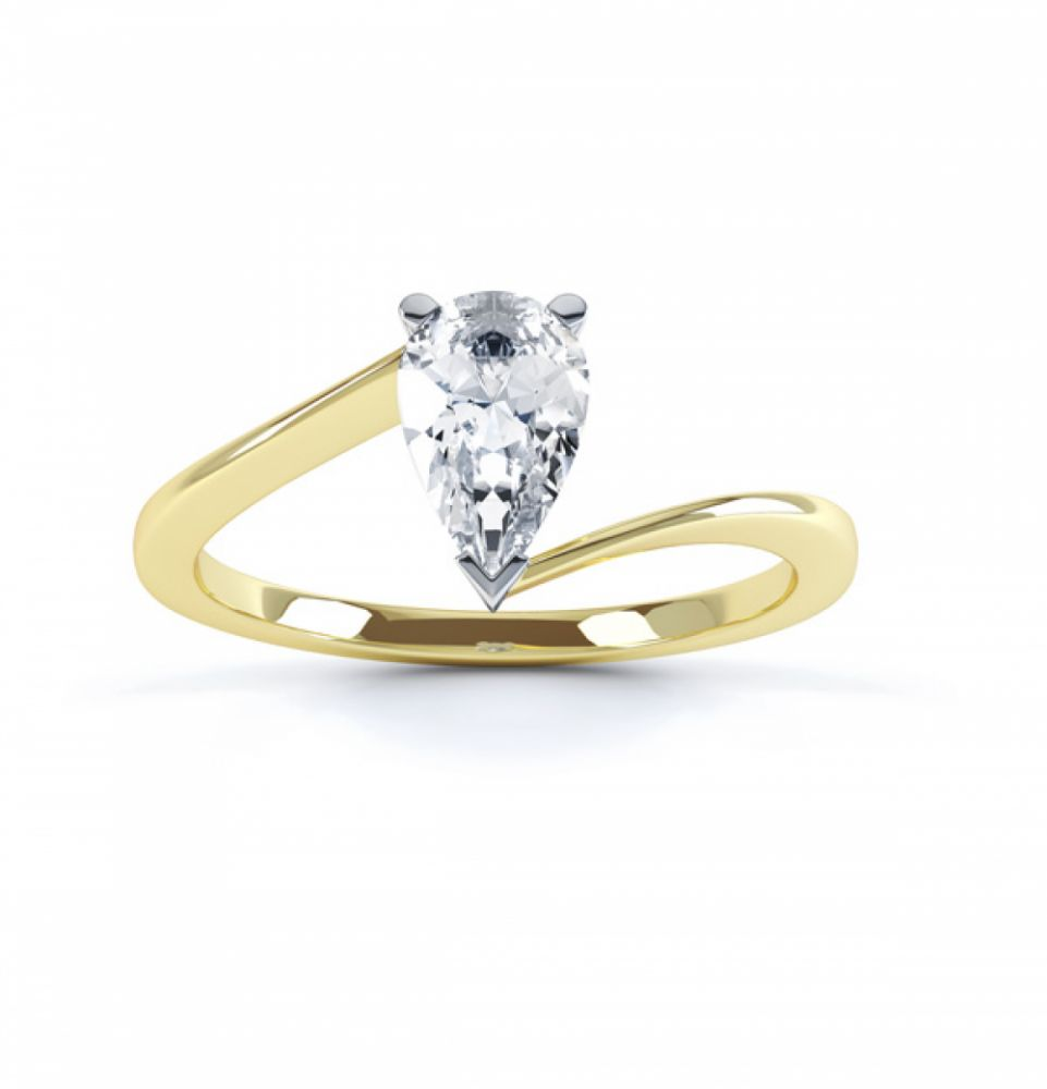 R1D068 Top, Pear shaped Twist Engagement Ring, Yellow Gold