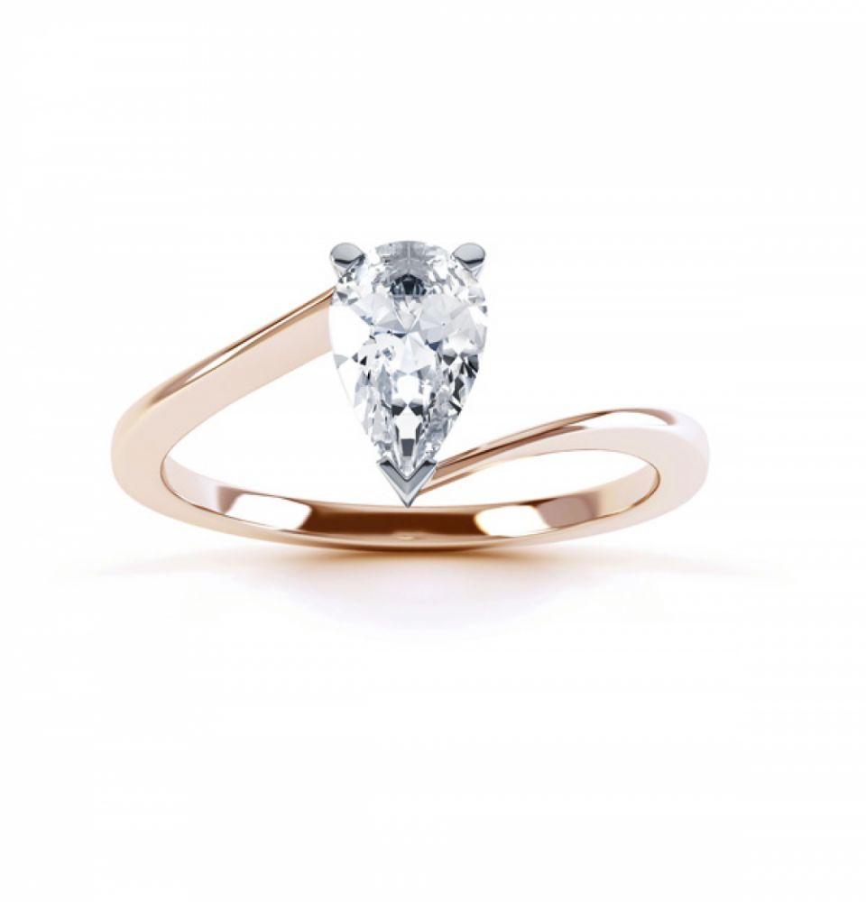 R1D068 Top, Pear shaped Twist Engagement Ring, Rose Gold