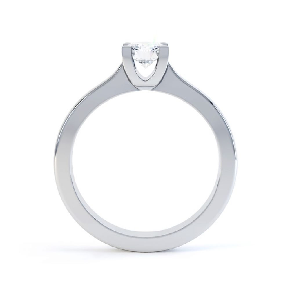Squared 4 Claw Round Diamond Solitaire Ring Side View