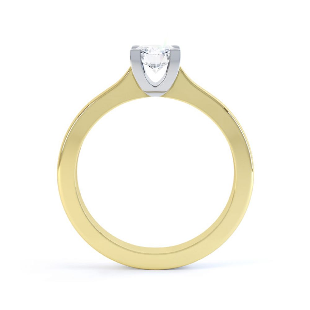 Squared 4 Claw Round Diamond Solitaire Ring Side View In Yellow Gold