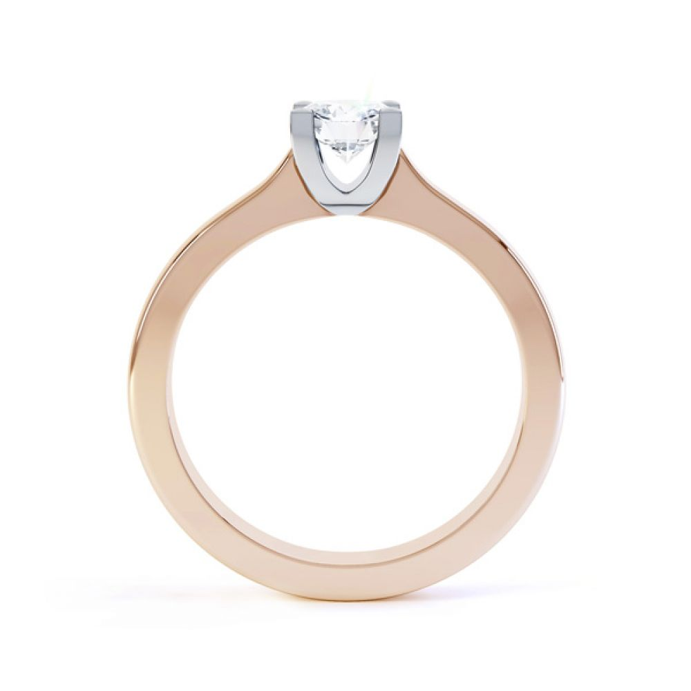 Squared 4 Claw Round Diamond Solitaire Ring Side View In Rose Gold