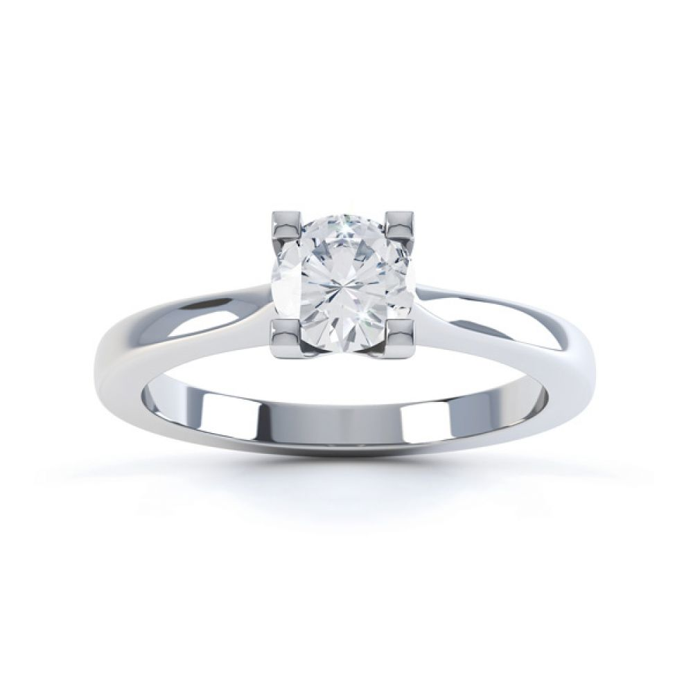 Squared 4 Claw Round Diamond Solitaire Ring Front View