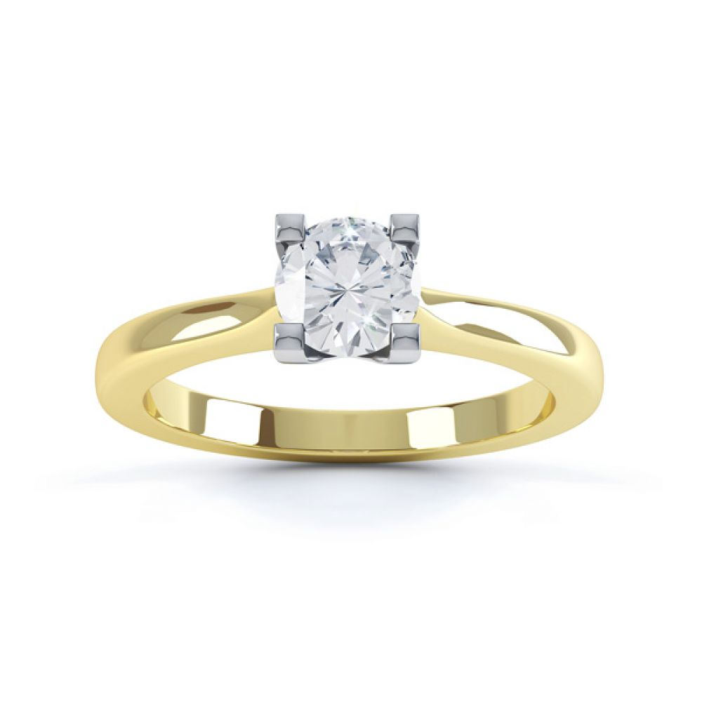 Squared 4 Claw Round Diamond Solitaire Ring Front View In Yellow Gold