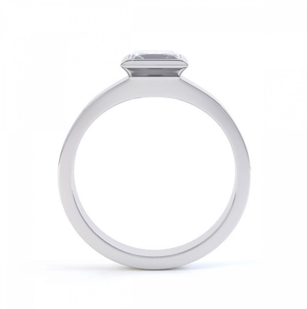 Ultramodern Fully Bezel Set Princess Diamond Ring White Gold, Side