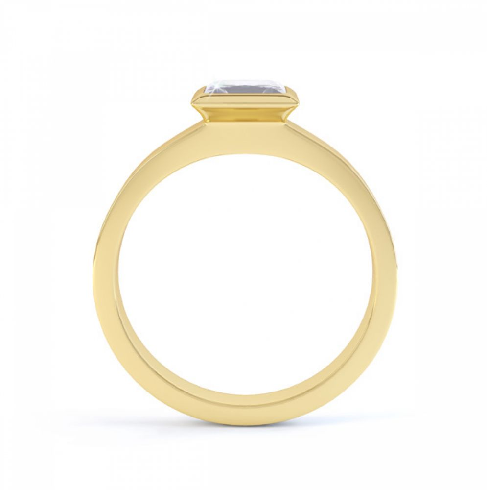 Ultramodern Fully Bezel Set Princess Diamond Ring Yellow Gold, Side