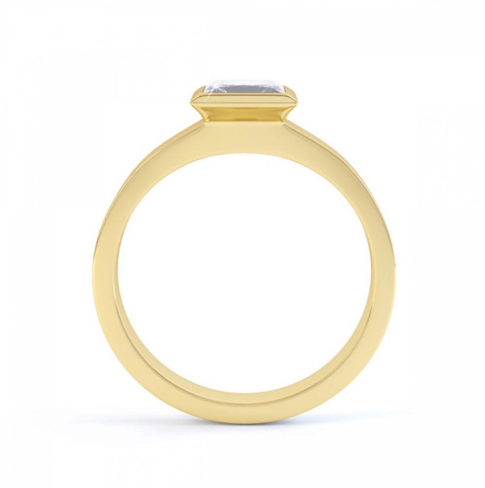 Ultramodern Fully Bezel Set Princess Diamond Ring Yellow Gold, Side