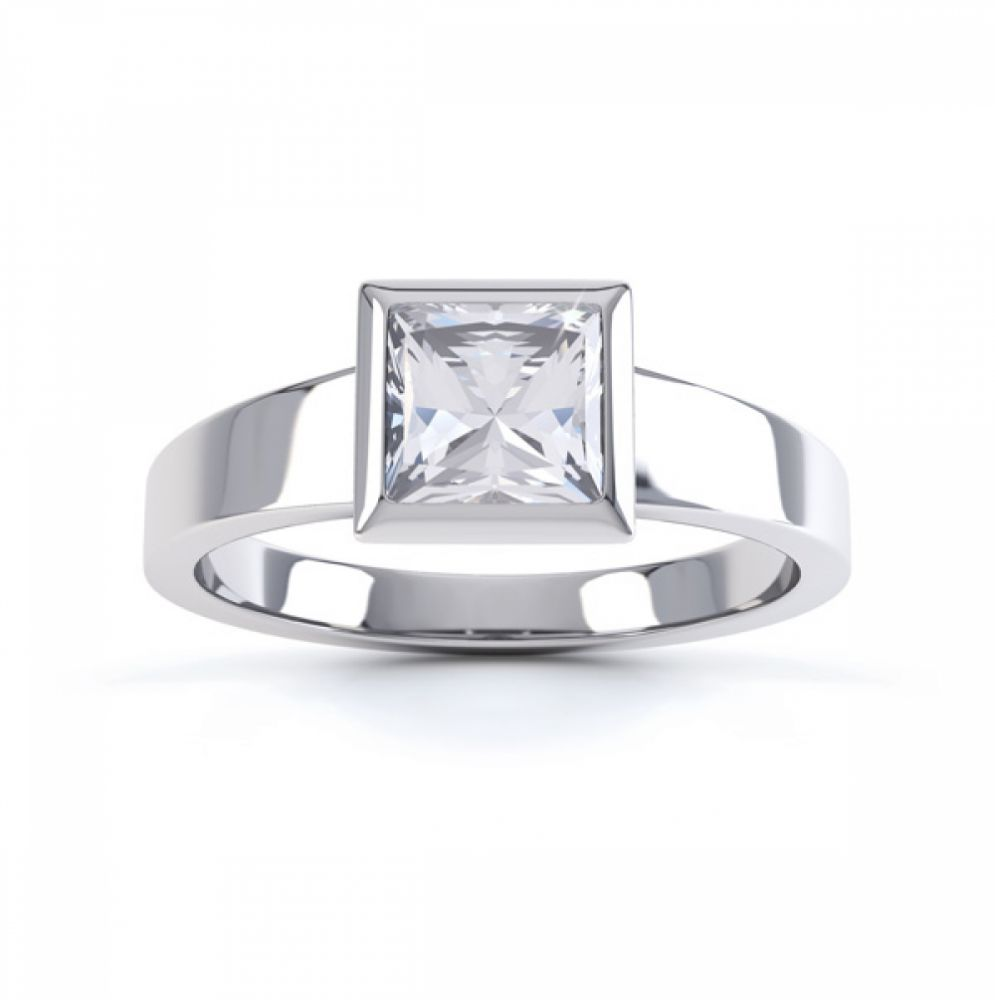 Ultramodern Fully Bezel Set Princess Diamond Ring White Gold, Top