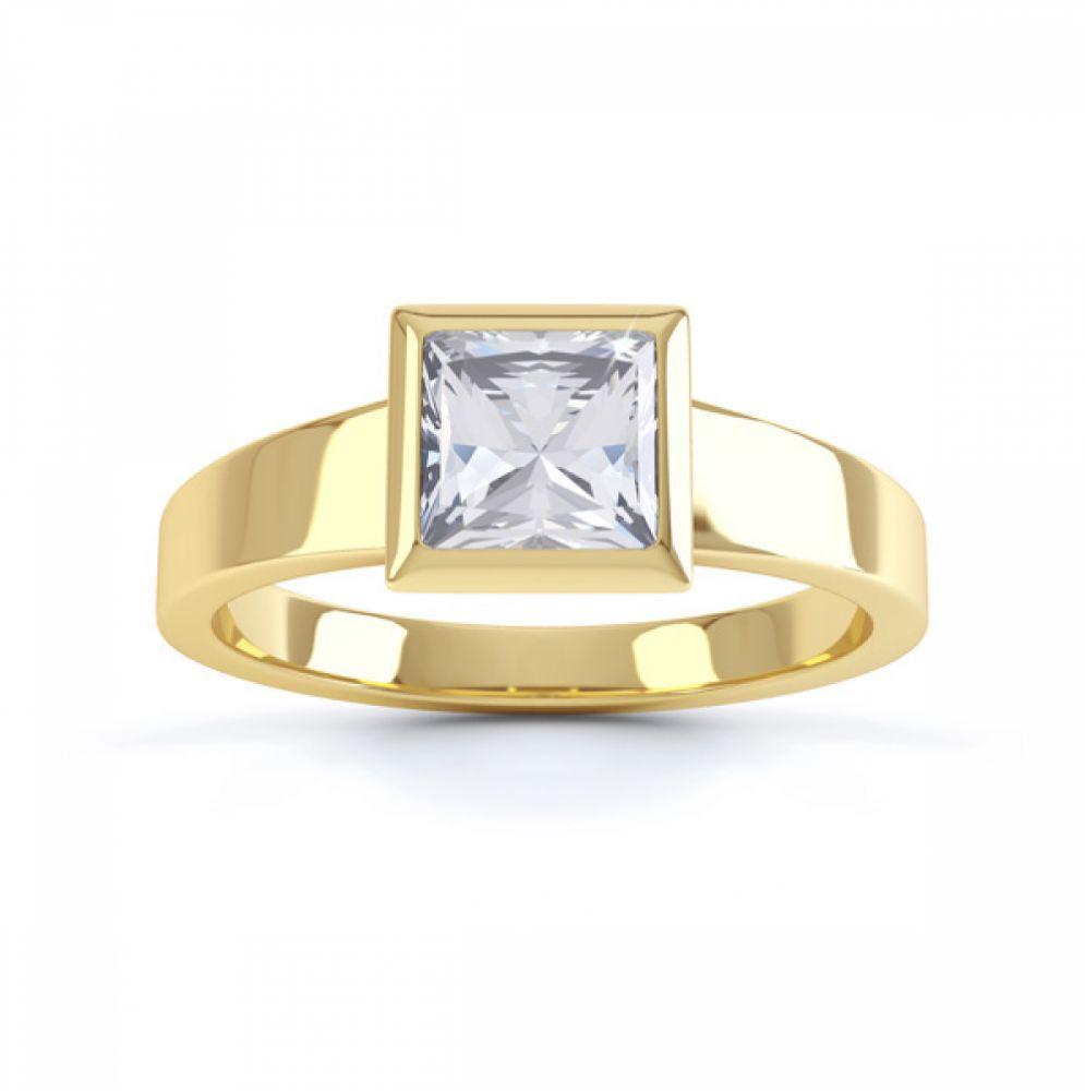 Ultramodern Fully Bezel Set Princess Diamond Ring Yellow Gold, Top
