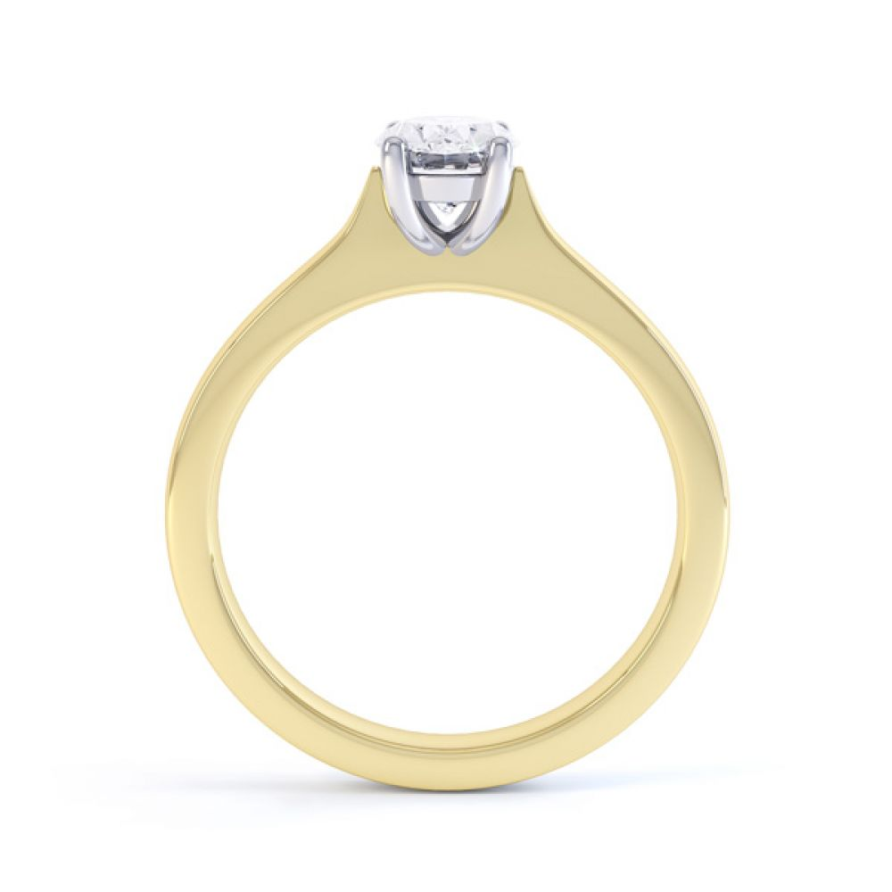 Wedfit 4 Claw Oval Diamond Engagement Ring Side View In Yellow Gold