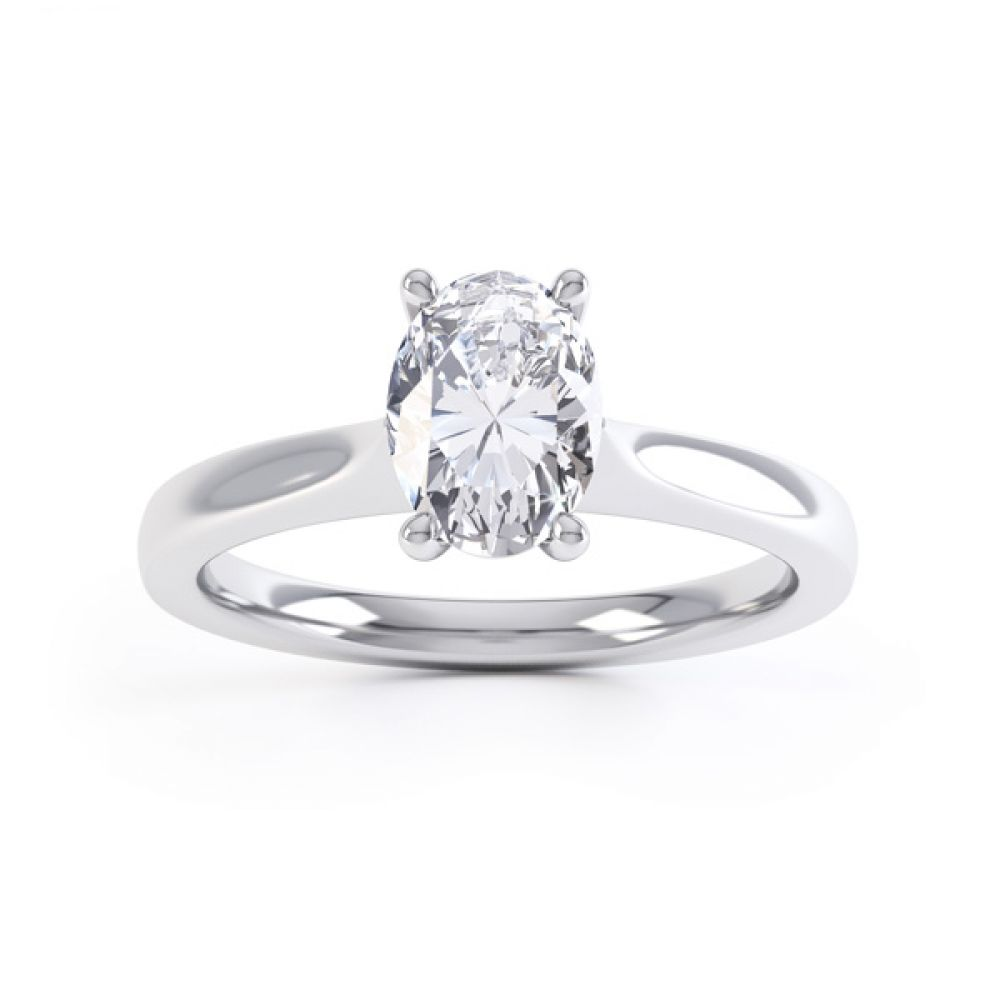 Wedfit 4 Claw Oval Diamond Engagement Ring Front View