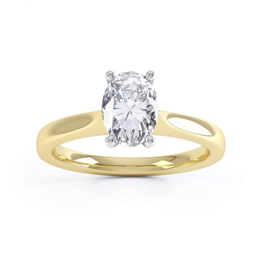 Wedfit 4 Claw Oval Diamond Engagement Ring Front View In Yellow Gold