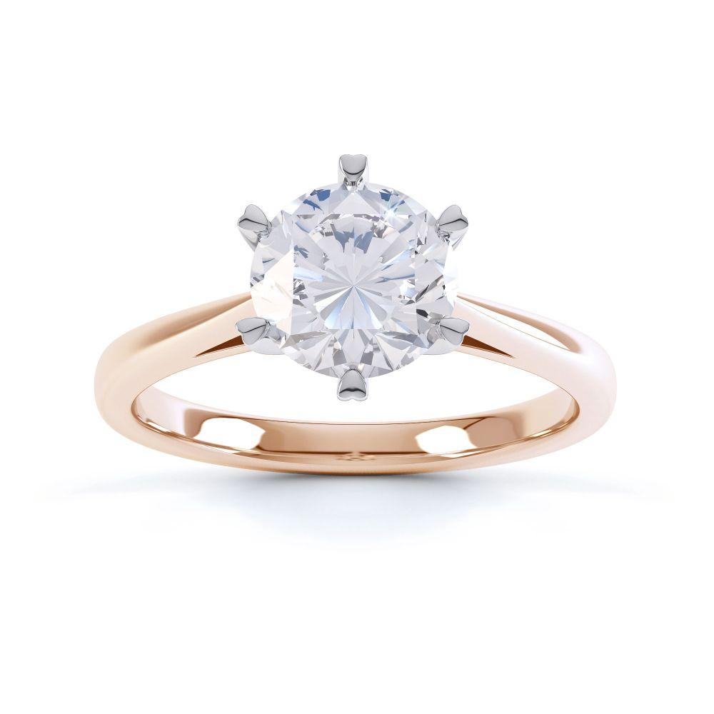 Venus engagement ring top view Rose gold