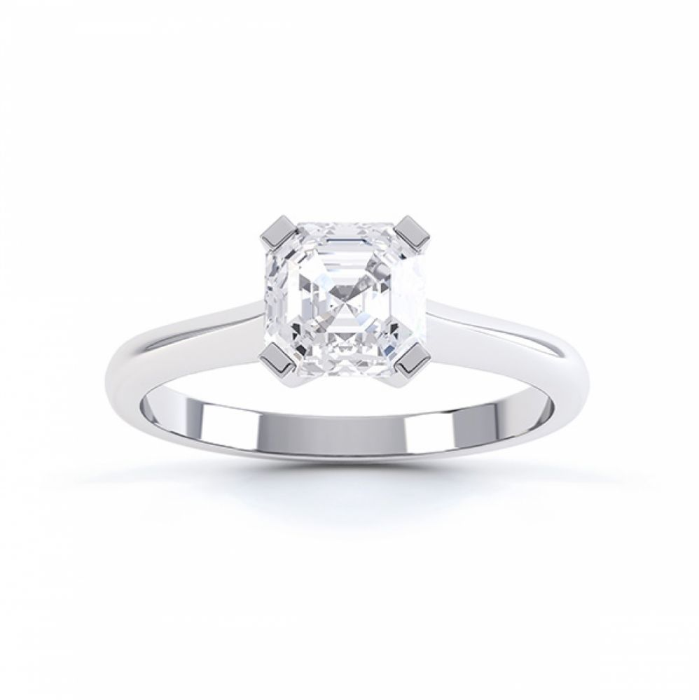 Top view of the Sonnet Asscher cut solitaire engagement ring shown here in white Gold