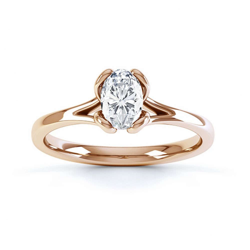 Loop oval solitaire diamond engagement ring side view in yellow gold