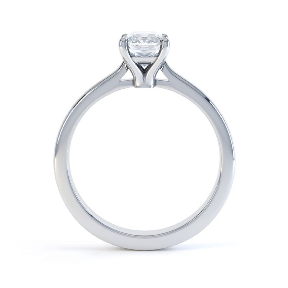 Classic 4 Claw Emerald Cut Diamond Solitaire Side View