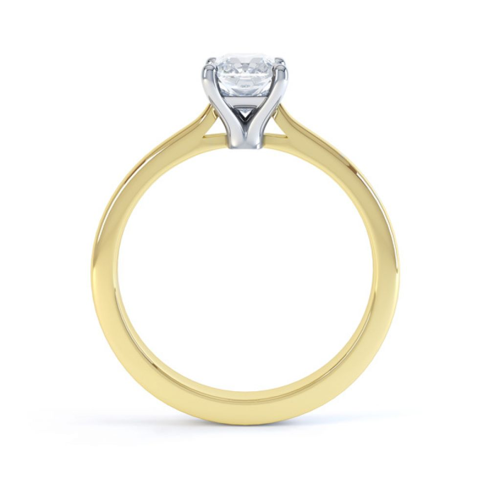 Classic 4 Claw Emerald Cut Diamond Solitaire Side View In Yellow Gold