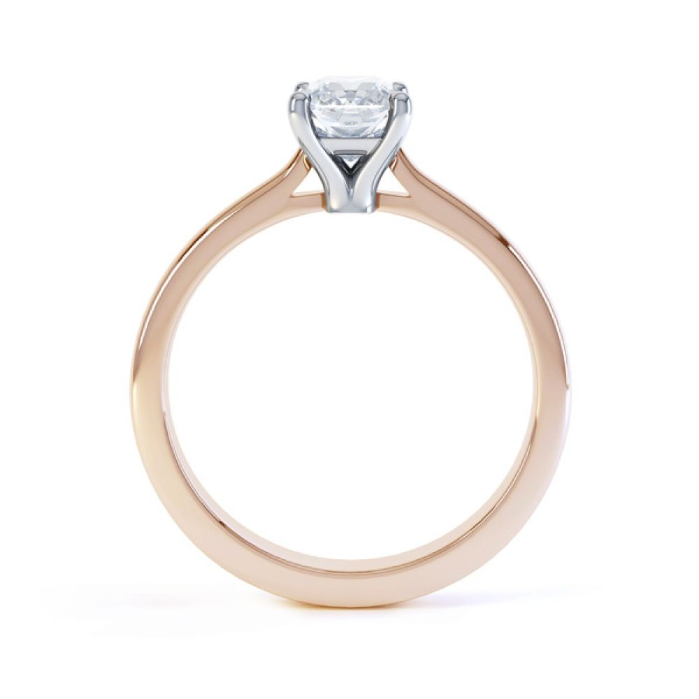 Classic 4 Claw Emerald Cut Diamond Solitaire Side View In Rose Gold