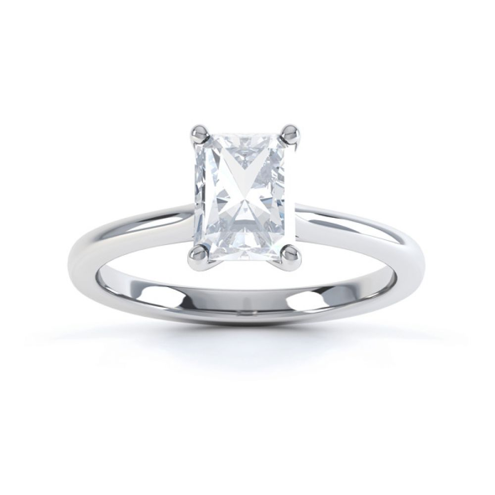 Classic 4 Claw Emerald Cut Diamond Solitaire Top View