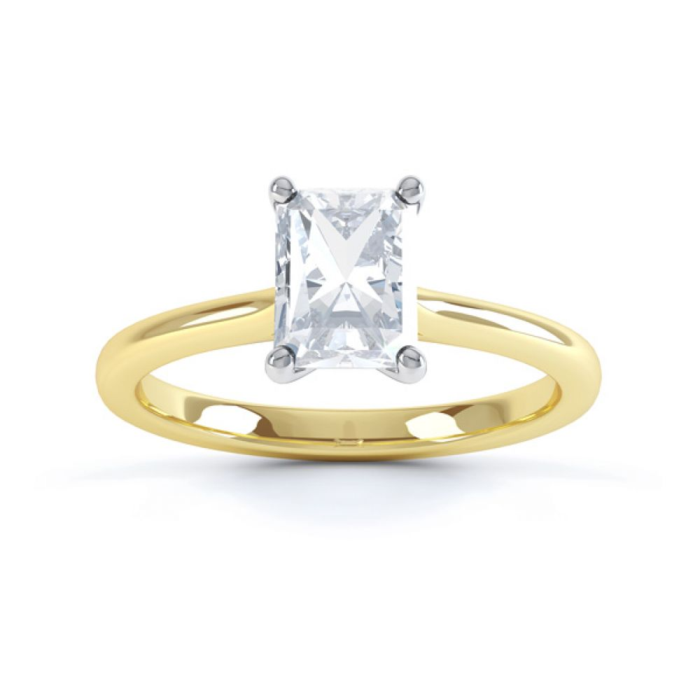 Classic 4 Claw Emerald Cut Diamond Solitaire Top View In Yellow Gold