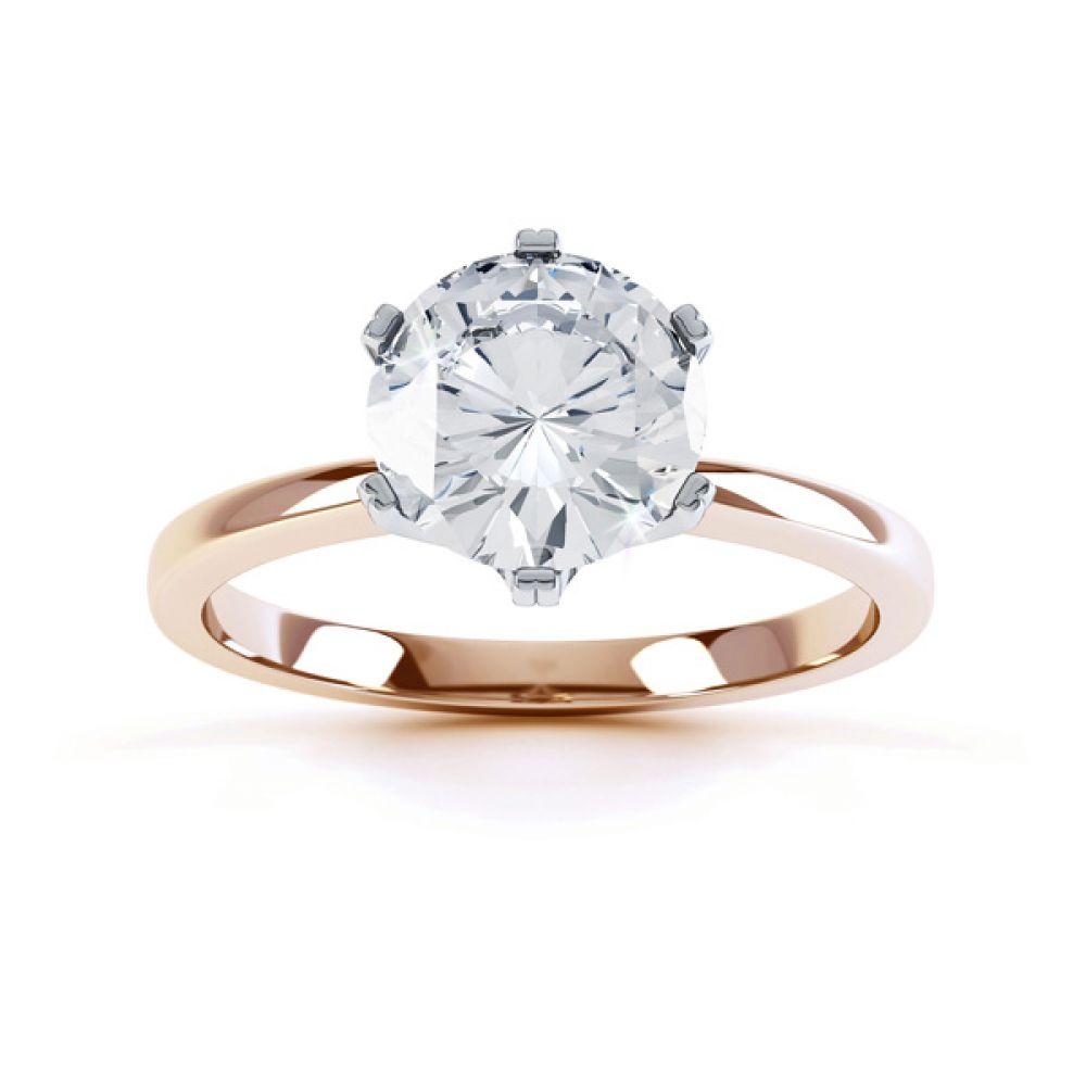 Tiffany style engagement ring R1D077 top view Rose gold