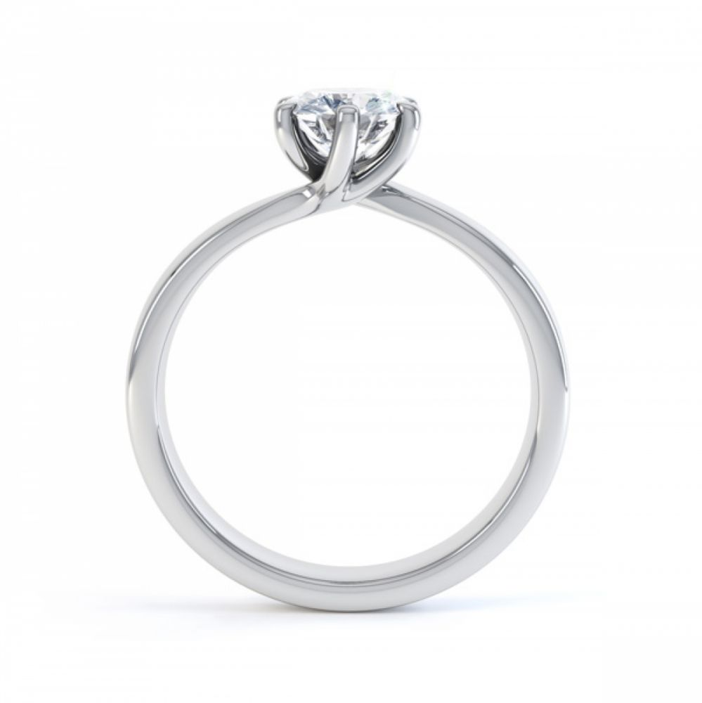 6 Claw Twist Solitaire Diamond ring - Side White