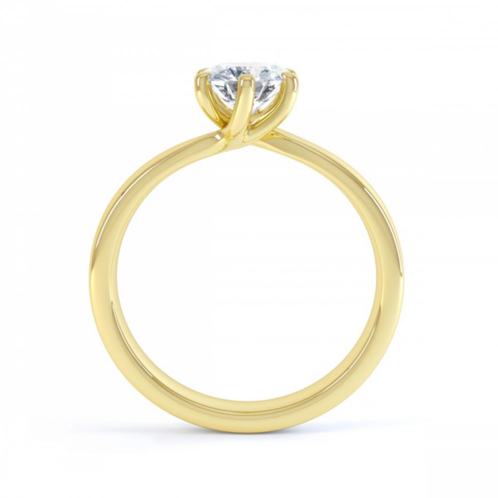 6 Claw Twist Solitaire Diamond ring - Side Yellow