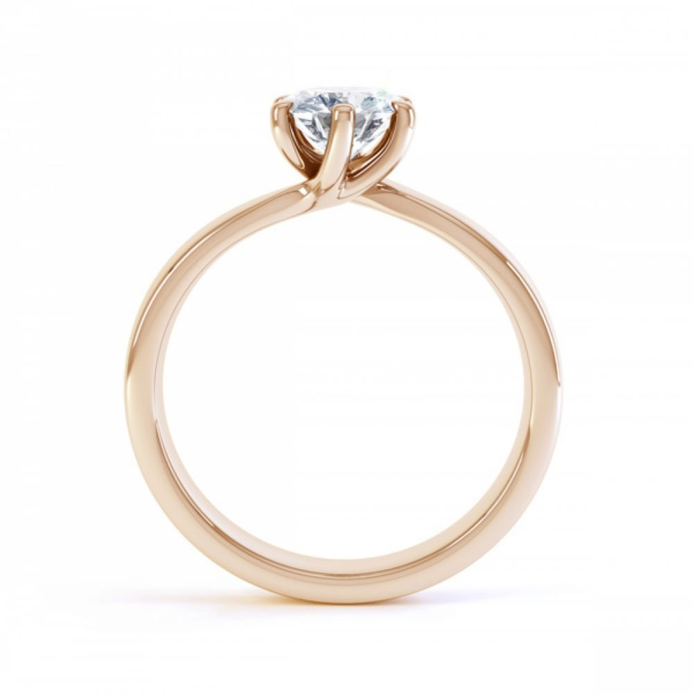 6 Claw Twist Solitaire Diamond ring - Side Rose