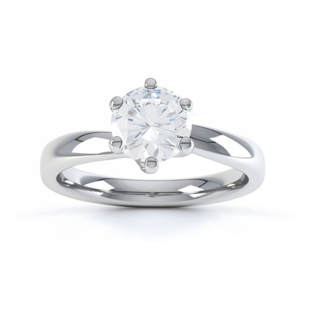 6 Claw Twist Solitaire Diamond ring - Top White