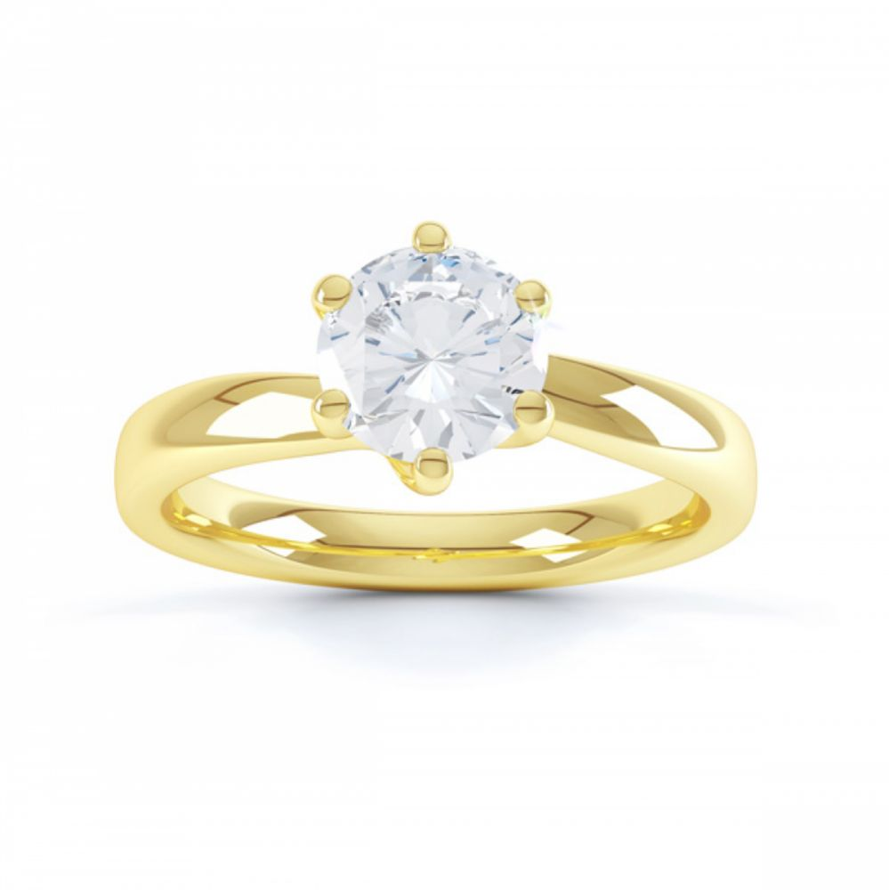 6 Claw Twist Solitaire Diamond ring - Top Yellow