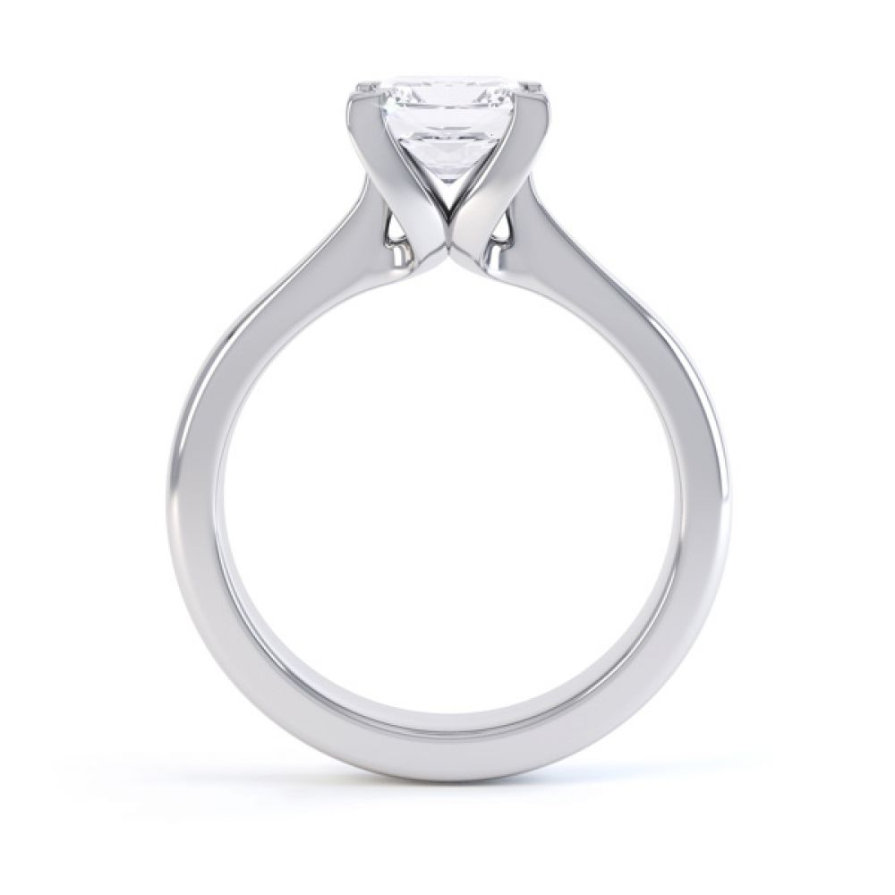 Folded 4 Claw Princess Cut Engagement Ring Side View
