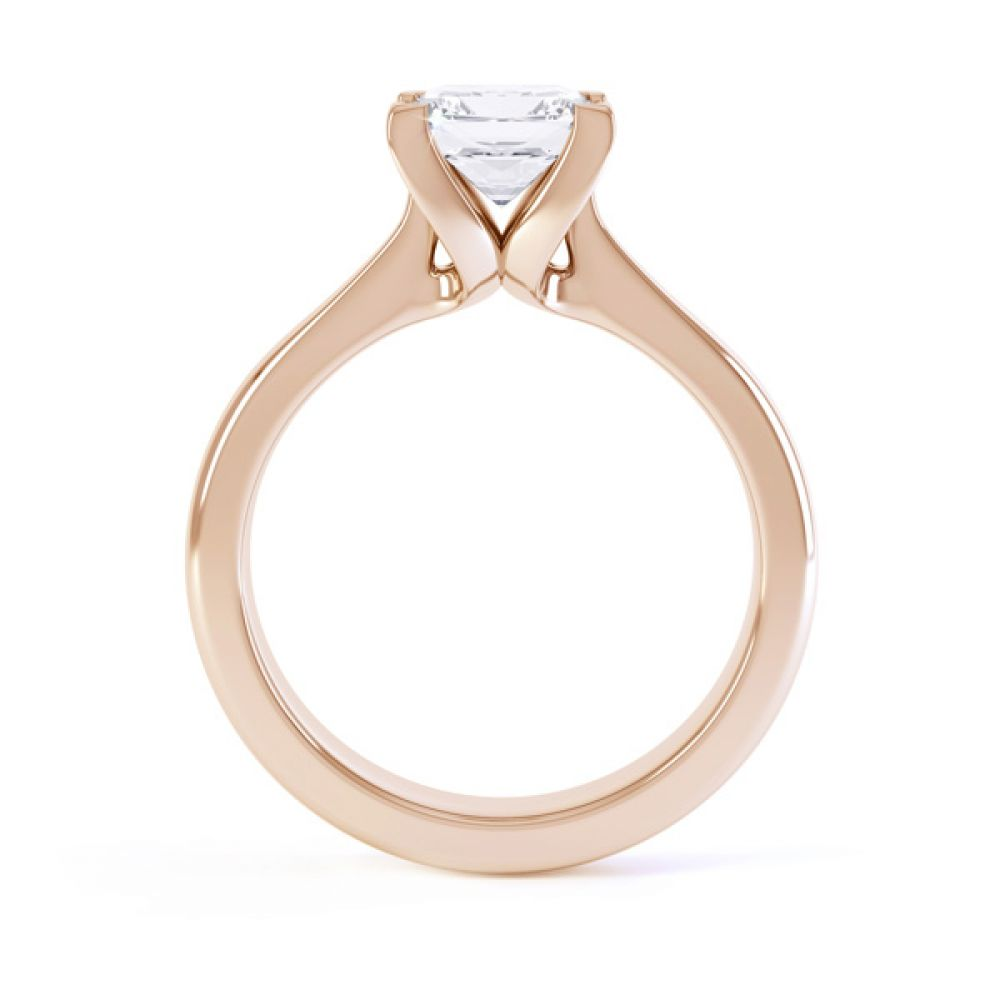 Folded 4 Claw Princess Cut Engagement Ring Side View In Rose Gold