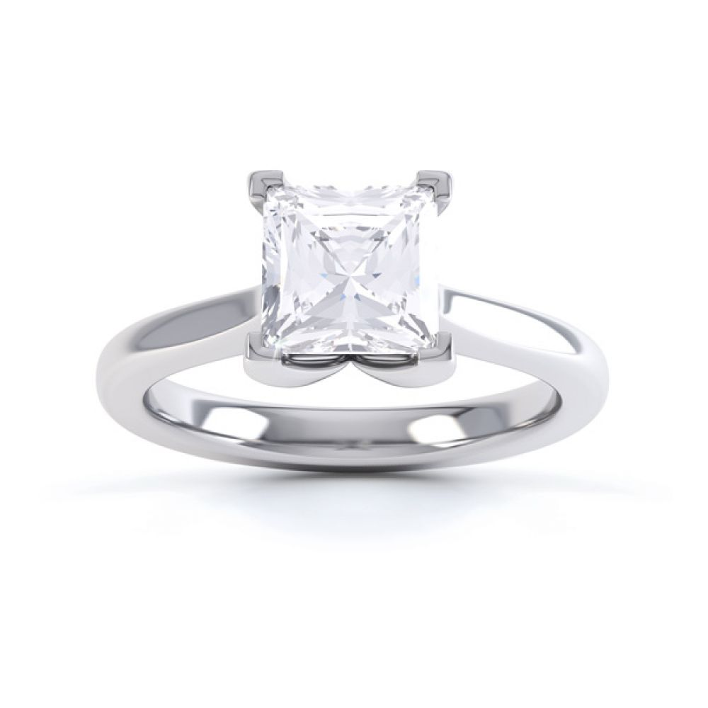 Folded 4 Claw Princess Cut Engagement Ring Front View