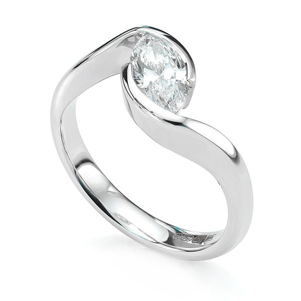 Ursa Marquise Twist Diamond Engagement Ring Main Image