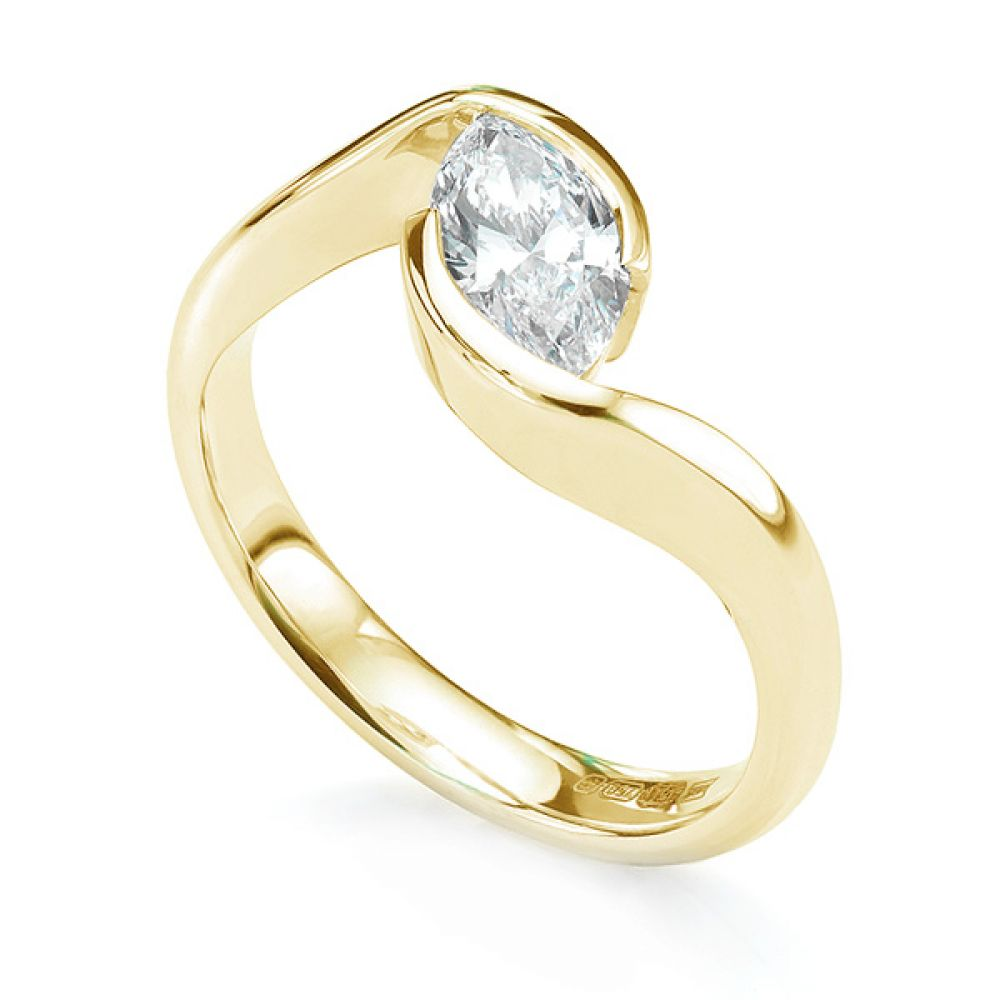 Ursa Marquise diamond solitaire engagement ring in yellow gold