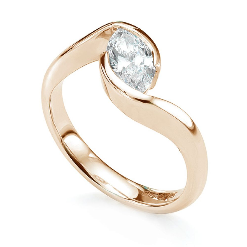 Ursa Marquise diamond solitaire engagement ring in rose gold