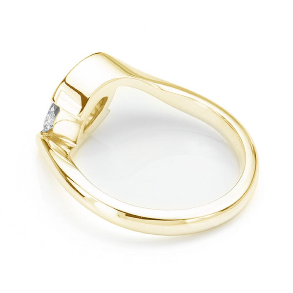 Ursa Marquise diamond solitaire engagement ring fairtrade yellow gold side view