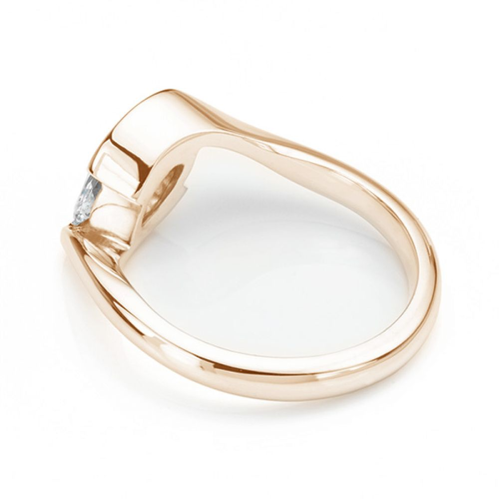 Ursa Marquise diamond solitaire engagement ring fairtrade rose gold side view