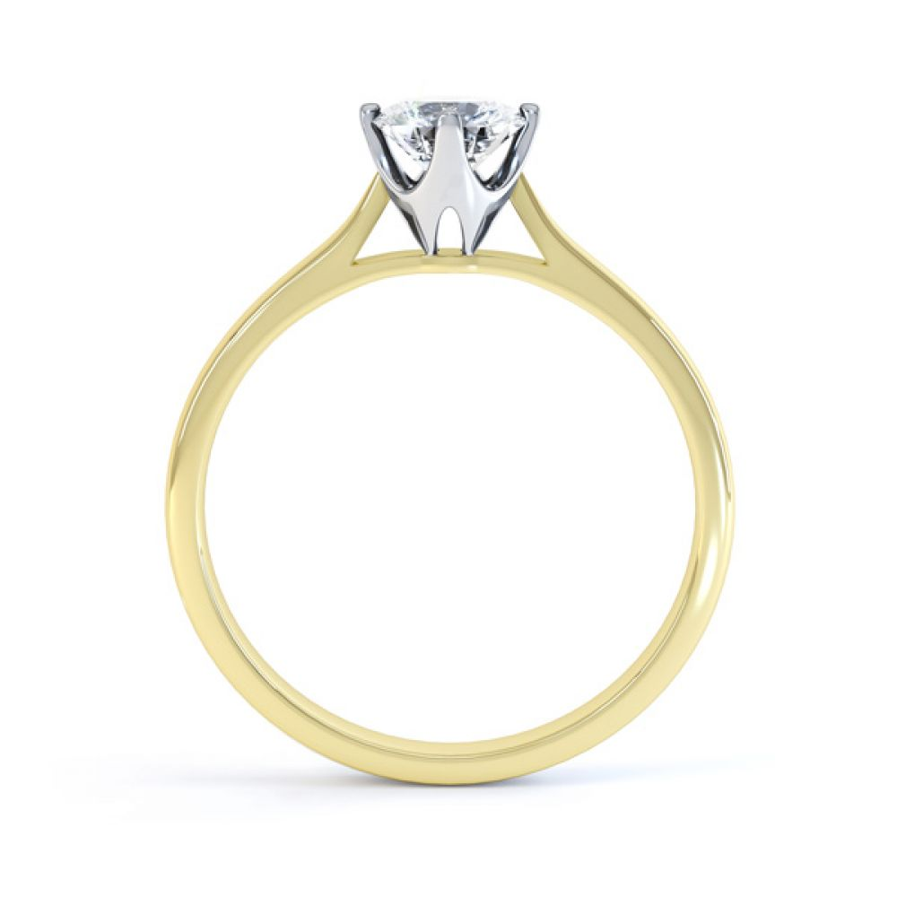 4 Claw Wedfit Compass Set Solitaire Ring Side View In Yellow Gold