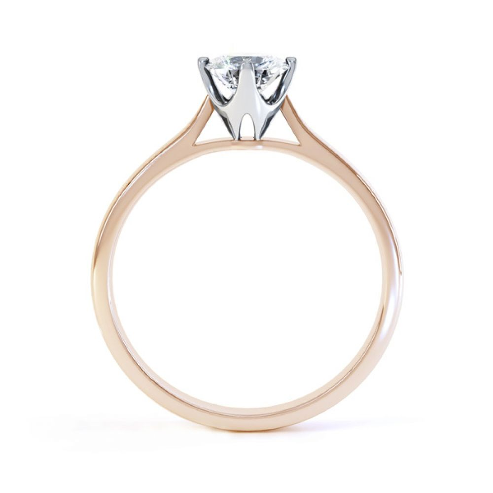 4 Claw Wedfit Compass Set Solitaire Ring Side View In Rose Gold